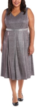 R & M Richards Metallic Fit & Flare Dress