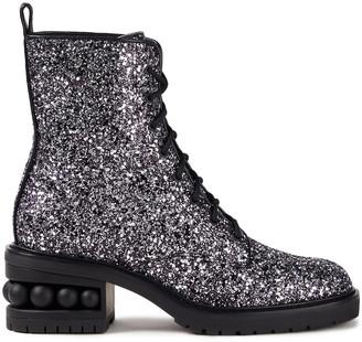 Nicholas Kirkwood Embellished Glittered Woven Combat Boots
