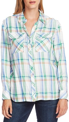 Vince Camuto Orchard Herringbone Plaid Button Front Shirt