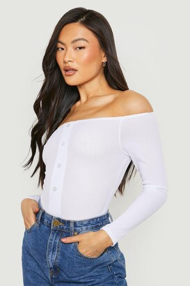 boohoo Off The Shoulder Rib Horn Button Long Sleeve one piece