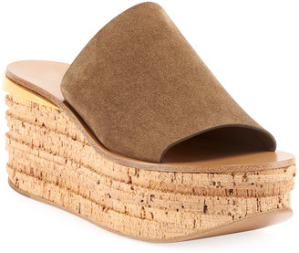 Chloé Camille Suede Wedge Slide Sandals