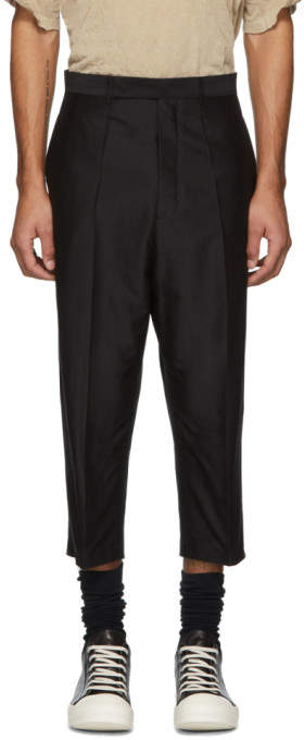Rick Owens Black Cropped Silk Astaires Trousers