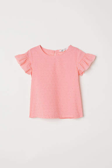 H&M Ruffle-trimmed Blouse - Pink