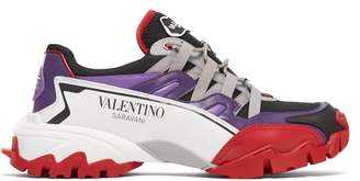 Valentino Climbers Mesh And Leather Trainers - Mens - Purple