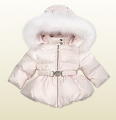 Gucci Hooded Quilted Down Jacket With Fur Detail.