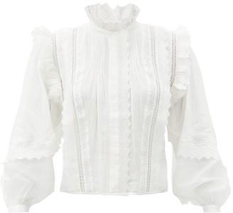 Frame Natalie Ruffled-lace Ramie-poplin Blouse - White