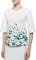 Erin Fetherston Half-Sleeve Floral-Print Top