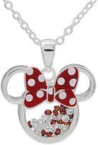 Disney Minnie Mouse Silver Plated Floating Crystals Pendant with Chain