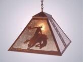 Mica 8 Seconds 1 - Light Lantern Geometric Chandelier Steel Partners Finish: Rust, Shade Color: Amber