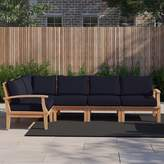 Anthony Logistics For Men Outdoor Patio 6 Piece Teak Sectional Seating Group with Cushion Foundstone Cushion Color: Navy