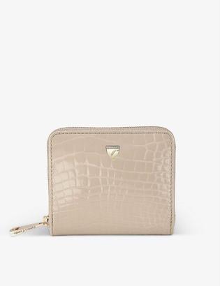 Aspinal of London Continental mini crocodile-embossed leather purse