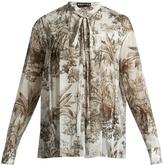 Rochas Elephant-print cotton-voile blouse