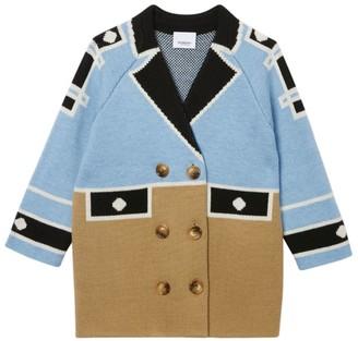 Burberry Kids Trompe L'Oeil Intarsia Wool Coat (3-12 Years)
