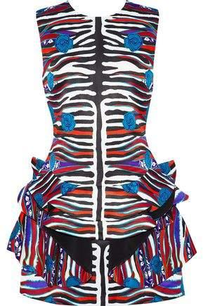 Roberto Cavalli Ruffled Printed Duchesse-Satin Mini Dress