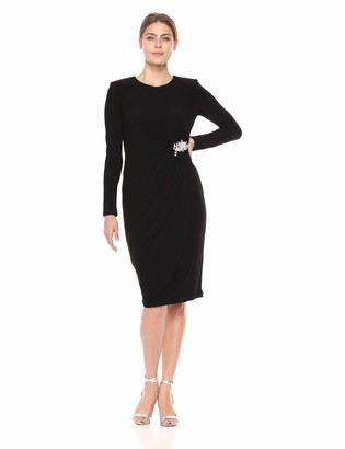 Maggy London Women's Crepe Cocktail Sheath with Embellished Broach