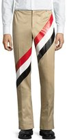 Thom Browne Diagonal-Stripe Cotton Pants, Khaki