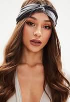 Missguided Grey Velvet Link Headband