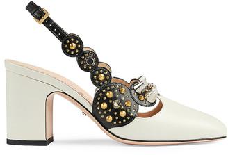 Gucci Paulina Leather Sandals in Dusty White & Nero | FWRD