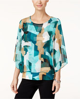 JM Collection Petite Printed Chiffon-Overlay Top, Only at Macy's