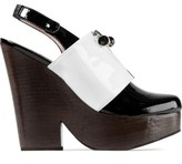 Carven Noir/Ecro Bloc Zipe Vernis Heels