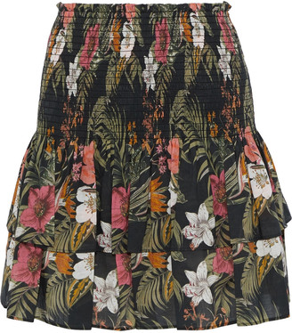 Rebecca Minkoff Amari Tiered Floral-print Cotton-broadcloth Mini Skirt