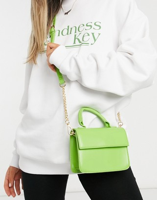 ASOS DESIGN boxy cross body bag with top handle in smooth green
