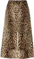 Chloé leopard jacquard slit skirt