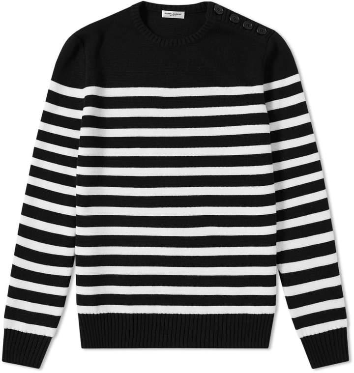 Saint Laurent Stripe Button Crew Knit