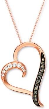 "LeVian Le Vian Nude Diamond (1/10 ct. t.w.) & Chocolate Diamond (1/10 ct. t.w.) Heart 18"" Pendant Necklace in 14k Rose Gold"
