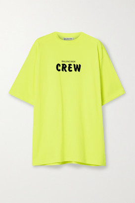 Balenciaga Oversized Neon Printed Cotton-jersey T-shirt - Yellow