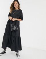 Asos Design DESIGN tiered cotton poplin smock midi dress in black