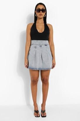 boohoo Acid Wash Pleated Denim Mini Skirt