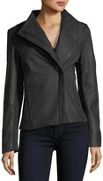 T Tahari Kelly Asymmetric-Zip Peplum Leather Jacket