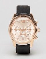 Michael Kors Lexington Leather Watch In Black Mk8516