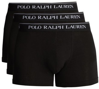 Polo Ralph Lauren Pack Of Three Cotton-blend Boxer Briefs - Black