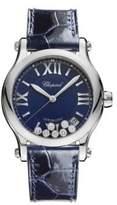 Chopard Happy Sport Diamond, Stainless Steel & Leather Strap Watch