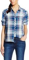 G Star Women's Tacoma One Pocket Long Sleeve Bf Indigo Shirt Flannel Check