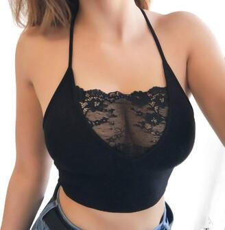 HOOUDO Women Sexy Lingerie Women Sexy Lingerie Strappy Erotic Underwear Bras Sleeveless Lace Crop Tops(XL