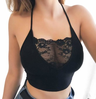 SANFASHION Women Sexy Lingerie Strappy Bras Sleeveless Lace Crop Tops Black