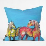 DENY Designs Clara Nilles Painted Ponies on Turquoise Throw Pillow, 16 by 16-Inch
