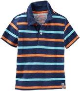 Osh Kosh Striped Polo (Toddler/Kid) - Blue/Orange/Turq - 6