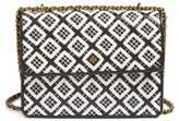 Tory Burch Robinson Woven Leather Convertible Shoulder Bag - Black