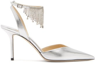 Jimmy Choo Birtie 85 Crystal-fringe Metallic-leather Sandals - Silver