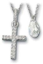 Swarovski SS Double Pendant Cross, Crystal, Rhodanized Necklace
