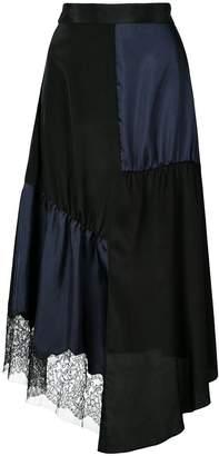 Tibi High Waisted Patchwork Silk Midi Skirt