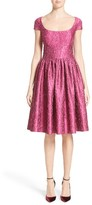 Women's Badgley Mischka Couture Cap Sleeve Brocade Party Dress