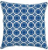 "18"" x 18"" Circles and Squares Pillow - Cobalt Blue/White"