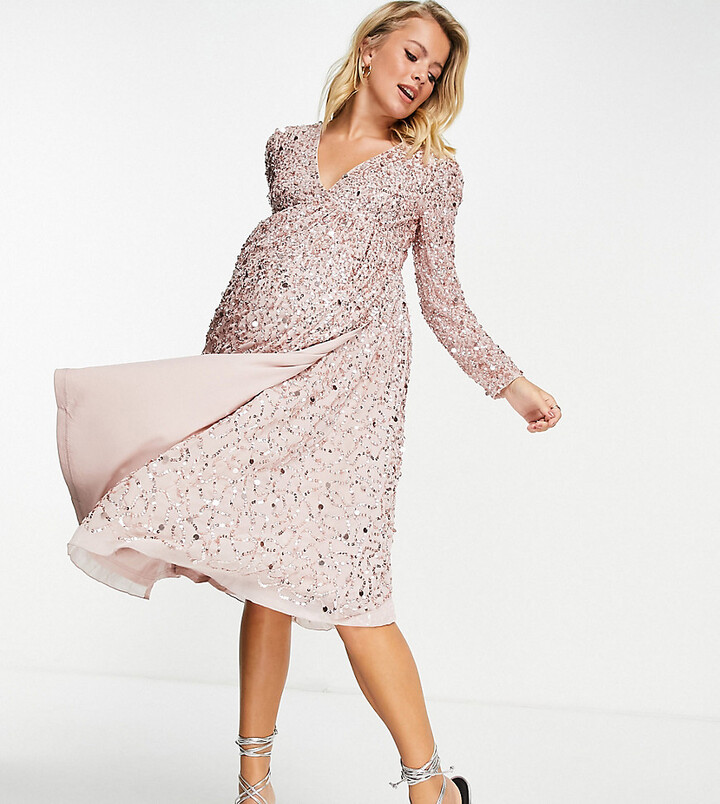 Maya Maternity embellished midi wrap dress in frosted pink