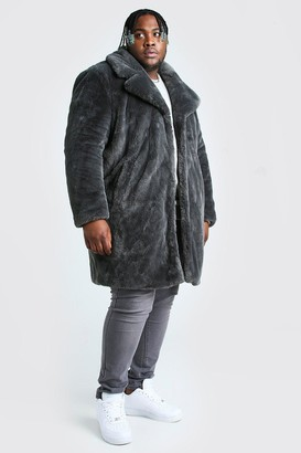 boohoo Mens Grey Plus Size Faux Fur Overcoat, Grey