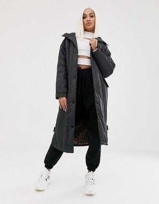 Asos Design DESIGN maxi raincoat with animal borg lining